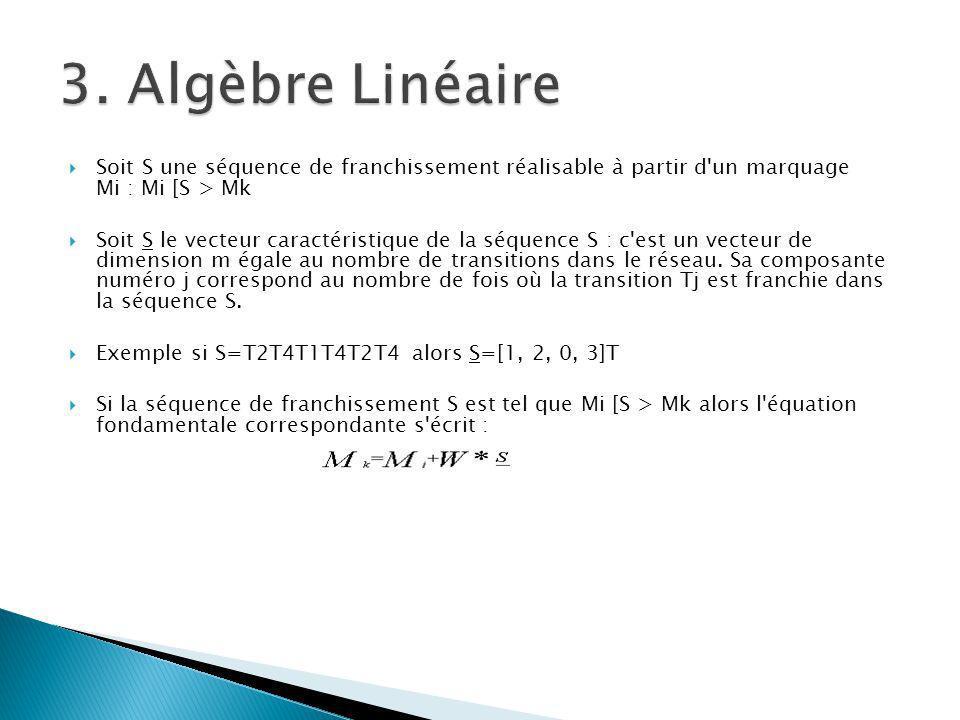 3. Algèbre Linéaire Soit S une séquence de franchissement réalisable à partir d un marquage Mi : Mi [S > Mk.